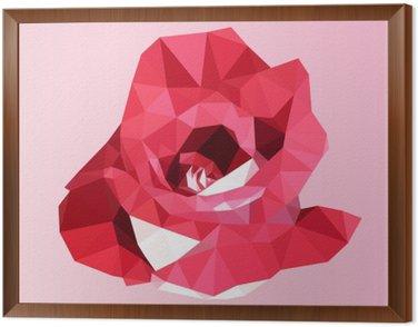 Obraz v Rámu Polygonální červená růže. poly nízký geometrický trojúhelník květina vektor