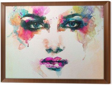 Obraz v Rámu Portrét ženy .abstract akvarel .fashion pozadí