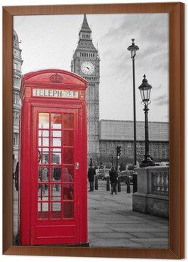 Obraz v Rámu Red telefonní budka v Londýně s Big Ben v černé a bílé
