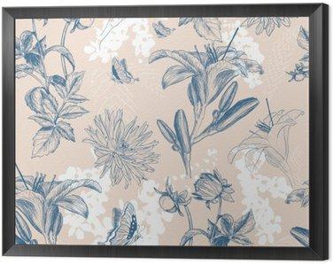 Obraz v Rámu Retro květina vektorové ilustrace