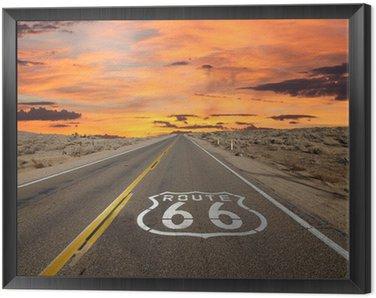Obraz v Rámu Route 66 Pavement Sign slunce Mohavské poušti