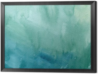 Obraz v Rámu Ručně malovaná tyrkysově modré, zelené akvarel abstraktní nátěru textury. Raster sklon úvodní pozadí.