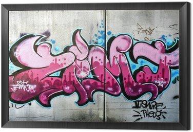 Obraz v Rámu Růžová graffiti v rakouském Salzburgu. Urban umění nebo vandalismus.