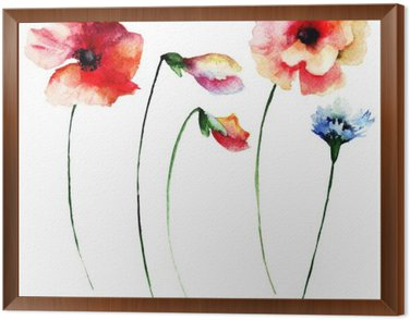 Obraz v Rámu Sada letních akvarelových květin