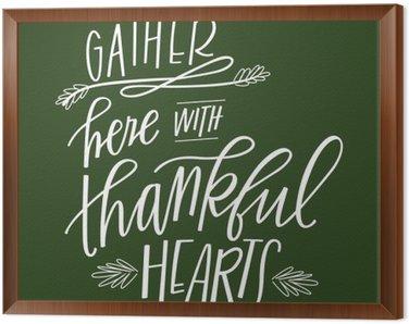 Obraz v Rámu Shromáždit Zde se vděčný srdce