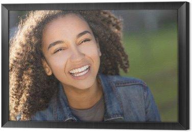 Obraz v Rámu Smíšené rasy africká americká holka teenager s dokonalými zuby