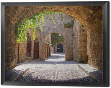 Obraz v Rámu Středověká klenuté ulice ve starém městě Rhodos, Řecko