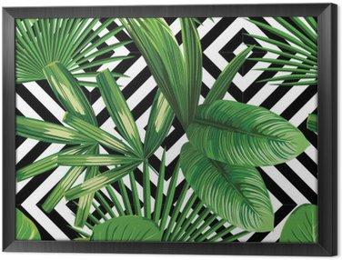 Obraz v Rámu Tropické palmové listy vzor, geometrické pozadí