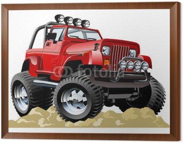 Obraz v Rámu Vector cartoon jeep na jedno kliknutí překreslit