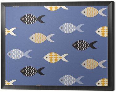 Obraz v Rámu Vector černá a bílá ryba bezešvé vzor. Hejno ryb v řadách na modrém oceánu vzor. Letní námořní téma.