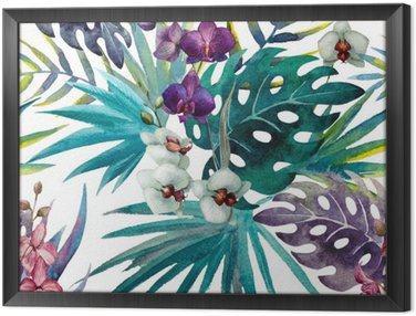 Obraz v Rámu Vzor Orchid Hibiscus listy akvarel tropy