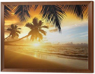 Obraz v Rámu Západ slunce na pláži Karibského moře