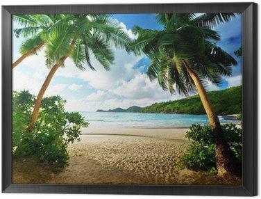 Obraz v Rámu Západ slunce na pláži, Mahe Island, Seychely