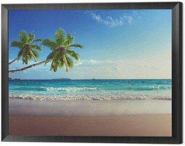 Obraz v Rámu Západ slunce na pláži Seychely