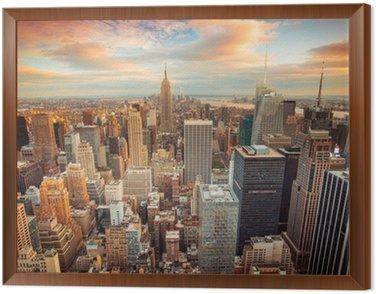 Obraz v Rámu Západ slunce pohled na New York City při pohledu na Manhattanu