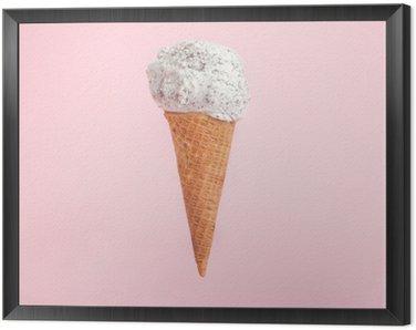 Obraz v Rámu Zmrzlina kužel na růžovém pozadí