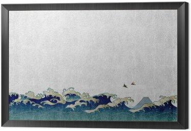 Obraz w Ramie 和風 背景 素材 大 波 と 渡 り 鳥