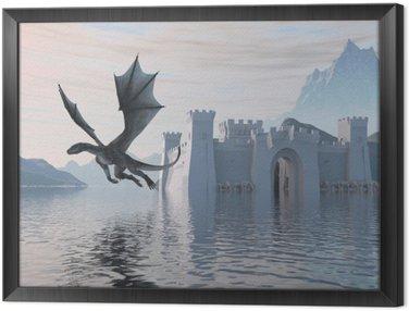 Obraz w Ramie 3D Ilustracja zamku na wodzie i Smoka