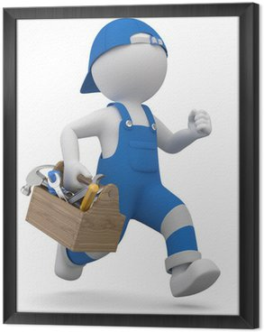 Obraz w Ramie 3d mężczyzna rzemieślników w pośpiechu