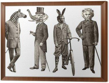 Obraz w Ramie 4 zwierzęta mężczyzn
