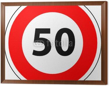 Obraz w Ramie A0174 - maksymalna prędkość panel 50 kilometrów na godzinę