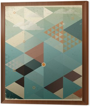 Obraz w Ramie Abstrakcyjne geometryczne tle retro z chmur