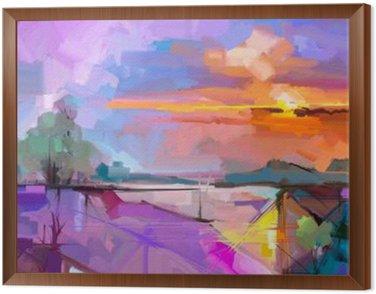 Abstrakcyjny obraz olejny pejzaż tła. Artwork nowoczesny obraz olejny pejzaż na zewnątrz. Semi abstrakcyjne drzewa, wzgórza z słonecznych (słońca), kolorowe żółty - fioletowy nieba. Piękno przyrody w tle