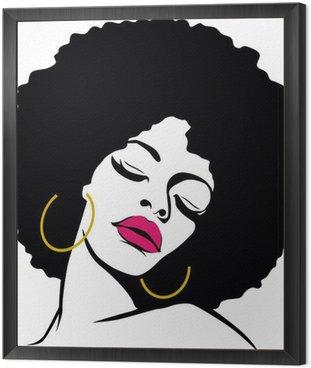 Obraz w Ramie Afro włosy hippie kobieta pop art