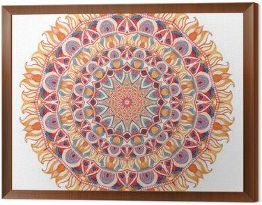 Obraz w Ramie Akwarela mandali z świętej geometrii. Ozdobne koronki na białym tle.