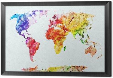 Obraz w Ramie Akwarela mapa świata