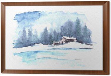 Obraz w Ramie Akwarela wzór zimy. Kraj krajobrazu. Obraz przedstawia dom, świerk, sosna, las, śnieg i zaspy.