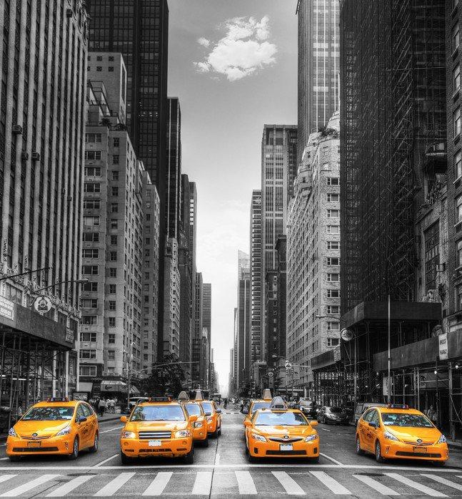 Obraz w Ramie Avenue z taksówki w Nowym Jorku. -