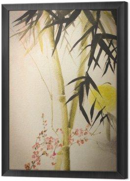 Obraz w Ramie Bambus Słońce i oddział śliwki