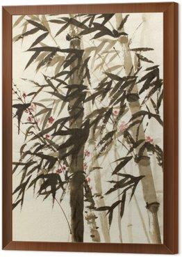 Bambusowe drzewa i śliwki gałęzi