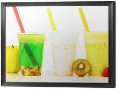 Obraz w Ramie Banana Slash Bubble Tea Apple i Kiwi Slash