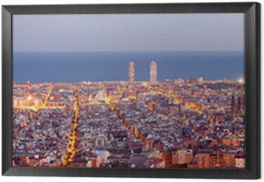 Obraz w Ramie Barcelona skyline panorama niebieski godzinę