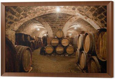 Obraz w Ramie Beczki w piwnicy z winem węgierskim