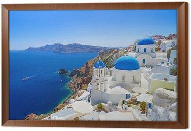 Obraz w Ramie Biała architektura Oia wsi na wyspie Santorini, Grecja