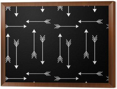 Białe strzałki na czarnym tle Wektor bez szwu deseń illustration__