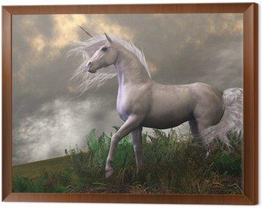 Obraz w Ramie Biały jednorożec ogier