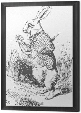 Obraz w Ramie Biały królik z alice wonderland zegarka