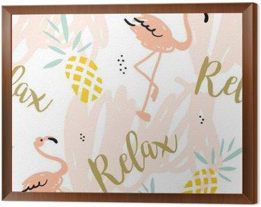 Obraz w Ramie Blush Pink Flamingo, ananasy i komunikat Relaks na białym tle z pastelowych uderzeń. Wektor bez szwu z ptaków i owoców tropikalnych.