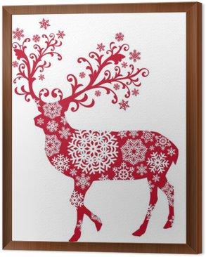 Obraz w Ramie Boże Narodzenie jelenia z ornamentami i płatki śniegu, wektor