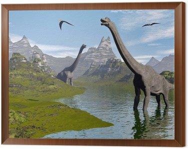 Brachiosaurus dinozaury w wodzie - 3d render