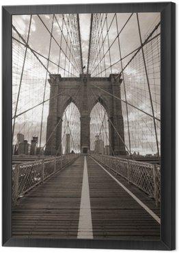 Obraz w Ramie Brooklyn Bridge w Nowym Jorku. sepię.