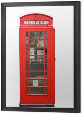 Obraz w Ramie Brytyjski czerwone stoisko telefonu samodzielnie na białym tle