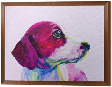 Obraz w Ramie Buddy Portret młodego psa, szczeniaka w neonowych kolorach. Patrząc i tęsknota za uwagę