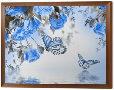Bukiet z róż i motyli delikatnych, kwiatów tle