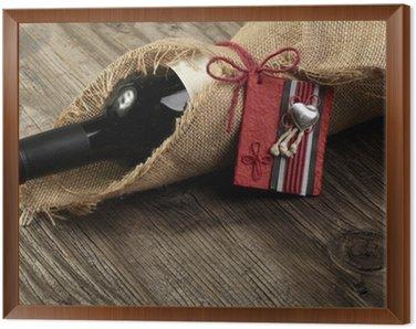 Obraz w Ramie Butelkę czerwonego wina z komunikatem