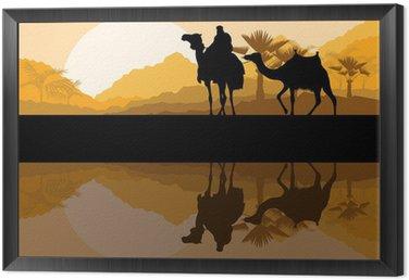 Obraz w Ramie Camel caravan w dzikiej górskiej przyrody pustynnego krajobrazu wektora